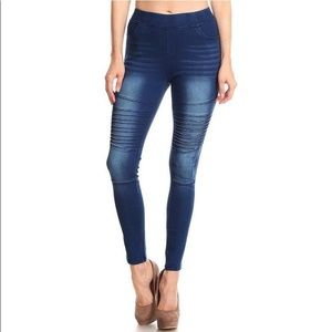 Moto Denim Pull On Jeans